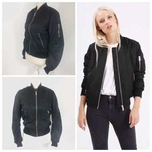 TopShop MA1 Black Bomber Jacket with Zipper Detail